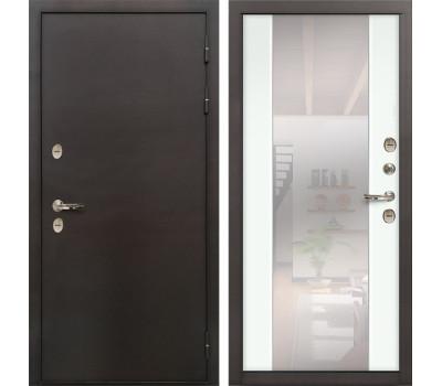 Входная уличная дверь с терморазрывом Лекс Термо Сибирь 3К Стиль с зеркалом Ясень белый (панель №61)