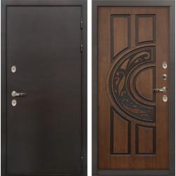 Входная уличная дверь с терморазрывом Лекс Термо Сибирь 3К Винорит Голден патина черная (панель №27)