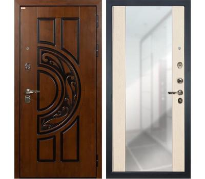 Входная стальная дверь Лекс Спартак Cisa Стиль с Зеркалом Дуб беленый (панель №45)