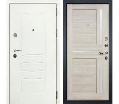 Входная стальная дверь Лекс Легион 3К Шагрень белая / Баджио Ясень кремовый (панель №49)