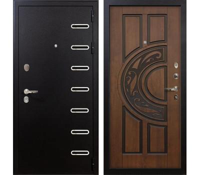 Входная металлическая дверь Лекс Витязь Винорит Голден патина черная (панель №27)