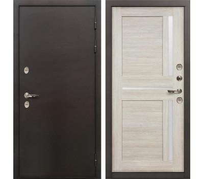 Входная уличная дверь с терморазрывом Лекс Термо Сибирь 3К Баджио Ясень кремовый (панель №49)